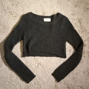 Gray Knit Cropped Sweater
